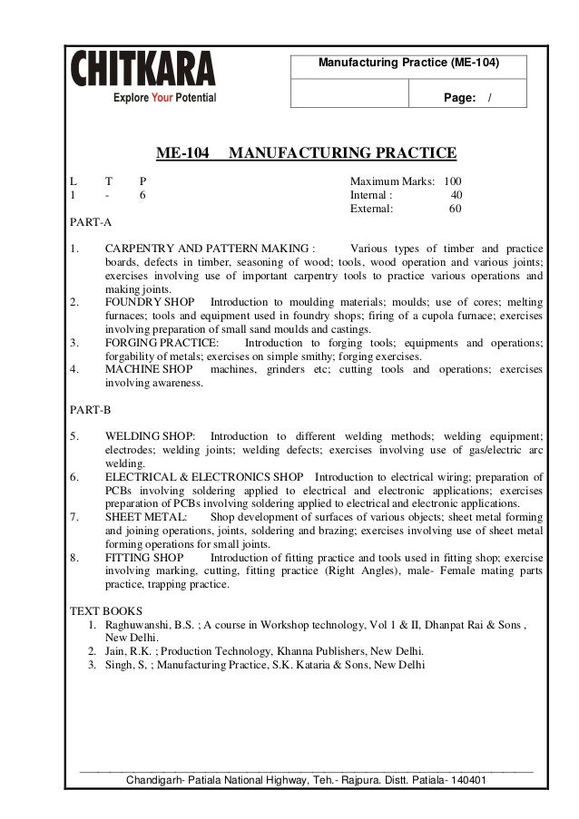 manufacturing practice lab manual b tech mechanical engineering rh slideshare net