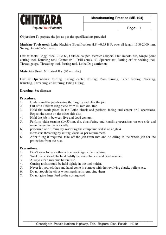 manufacturing practice lab manual b tech mechanical engineering rh slideshare net
