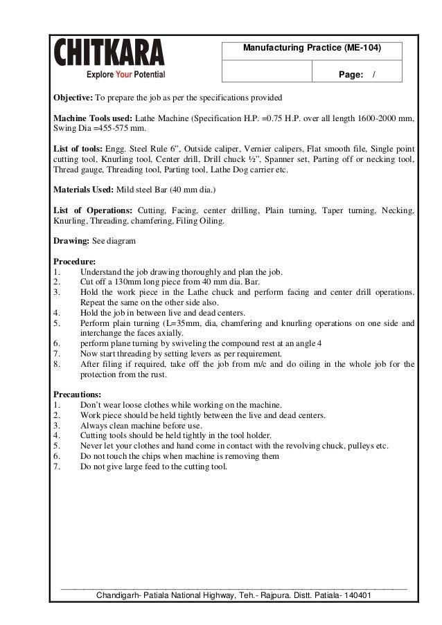 Manufacturing Practice Lab Manual B Tech Mechanical