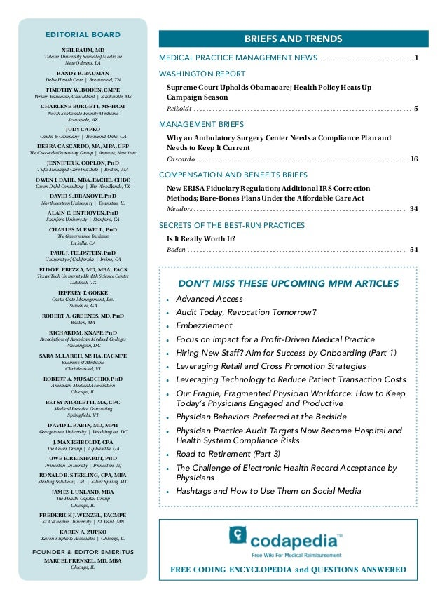 The Journal of Medical Practice Management