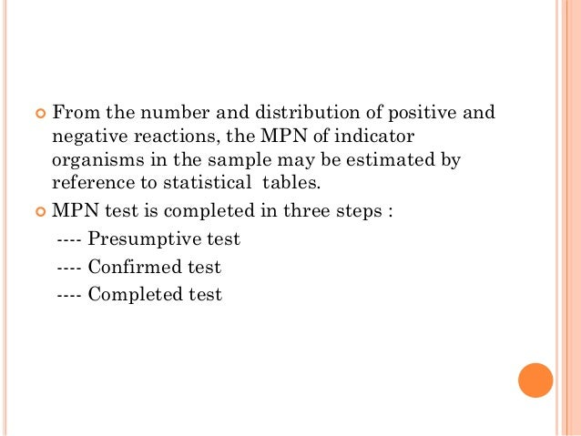  From the number and distribution of positive and negative reactions, the MPN of indicator organisms in the sample may be...