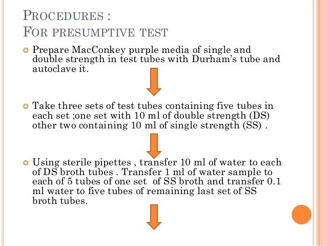 PROCEDURES : FOR PRESUMPTIVE TEST  Prepare MacConkey purple media of single and double strength in test tubes with Durham...