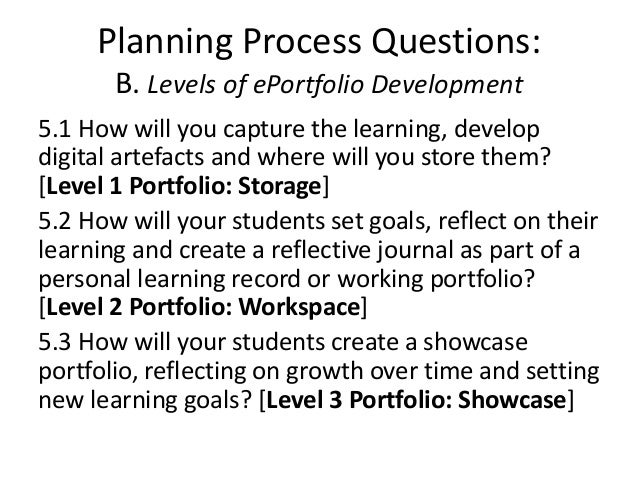 Planning Process Questions: B. Levels of ePortfolio Development 5.1 How will you capture the learning, develop digital art...