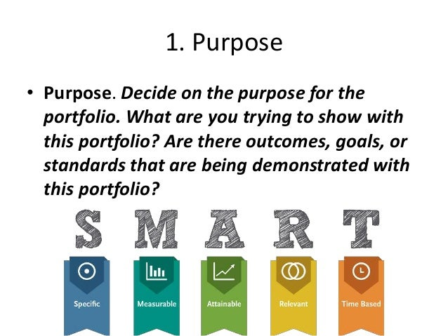 1. Purpose • Purpose. Decide on the purpose for the portfolio. What are you trying to show with this portfolio? Are there ...