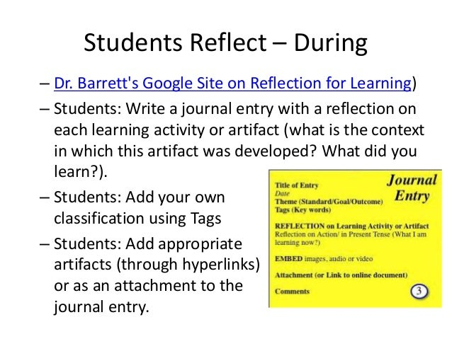 """Hands-on Activity & Reflection • Create a """"template"""" for reflecting on an artifact. How will you help your students reflec..."""