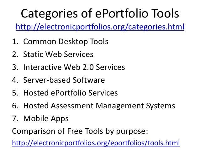 Categories of ePortfolio Tools http://electronicportfolios.org/categories.html