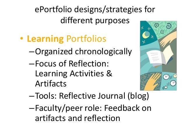 ePortfolio designs/strategies for different purposes • Assessment/Accountability Portfolios (Summative assessment) –Organi...