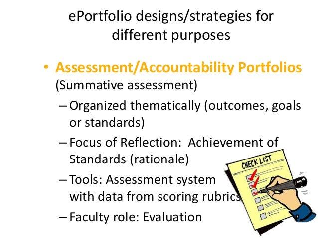 ePortfolio designs/strategies for different purposes  Showcase Portfolios (Employment, Self-marketing)  Organized themat...