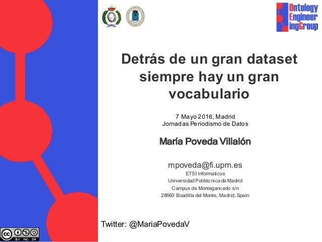 Detrás de un gran dataset siempre hay un gran vocabulario María Poveda Villalón mpoveda@fi.upm.es ETSI Informaticos Univer...