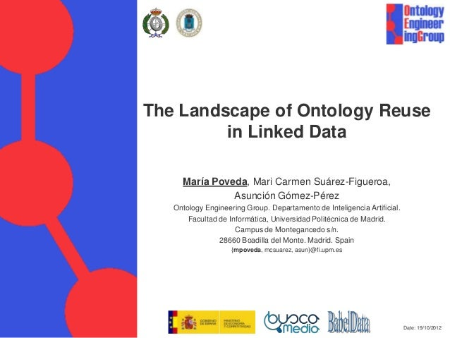 Date: 19/10/2012 The Landscape of Ontology Reuse in Linked Data María Poveda, Mari Carmen Suárez-Figueroa, Asunción Gómez-...