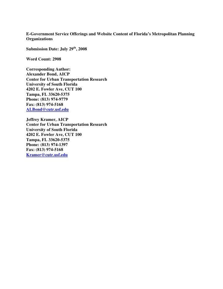 E-Government Service Offerings and Website Content of Florida's Metropolitan Planning Organizations  Submission Date: July...