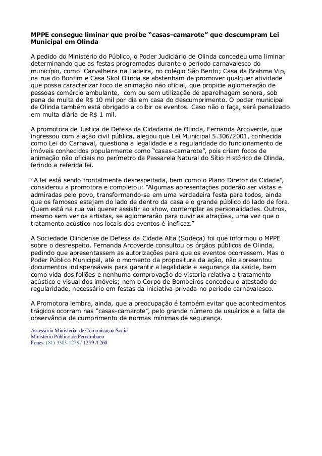 """MPPE consegue liminar que proíbe """"casas-camarote"""" que descumpram Lei Municipal em Olinda A pedido do Ministério do Público..."""