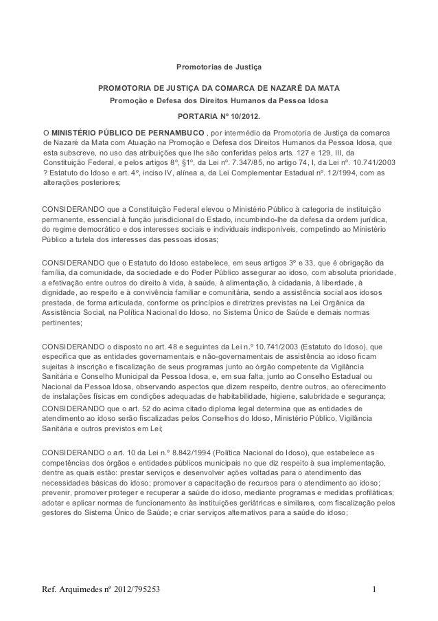 Promotorias de Justiça                PROMOTORIA DE JUSTIÇA DA COMARCA DE NAZARÉ DA MATA                    Promoção e Def...