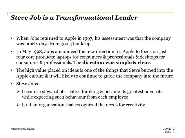steve job s autocratic leadership style And she points out that even steve jobs mellowed when he returned for his second, and more successful, stint at apple  mr dattner says different leadership styles may serve better depending on.