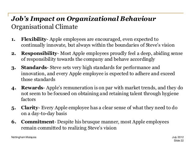 organizational climate at apple Organizational climate for innovation is crucial  under his leadership, apple's  market share and stock prices continued to slide, and could not.