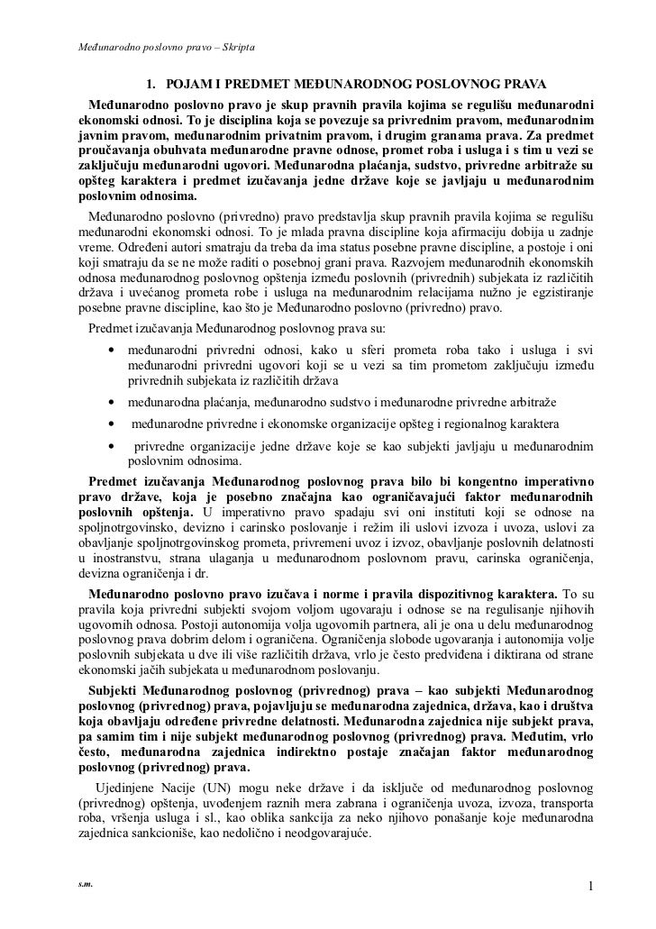Međunarodno poslovno pravo – Skripta              1. POJAM I PREDMET MEĐUNARODNOG POSLOVNOG PRAVA  Međunarodno poslovno pr...