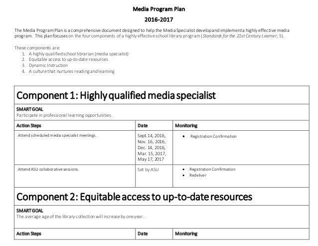Media Program Plan 2016-2017 The Media Program Plan is a comprehensive document designed to help the Media Specialist deve...