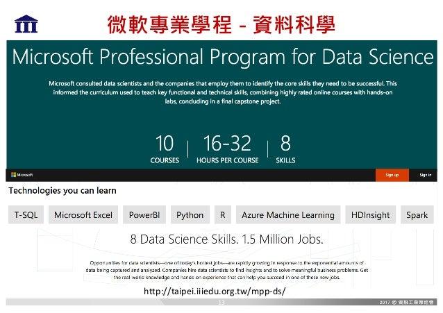 微軟專業學程 - 資料科學 http://taipei.iiiedu.org.tw/mpp-ds/ 13