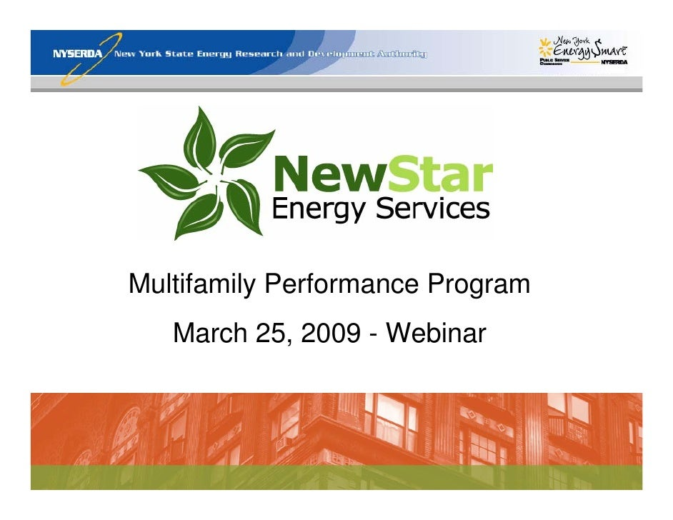 Multifamily Performance Program    March 25, 2009 - Webinar