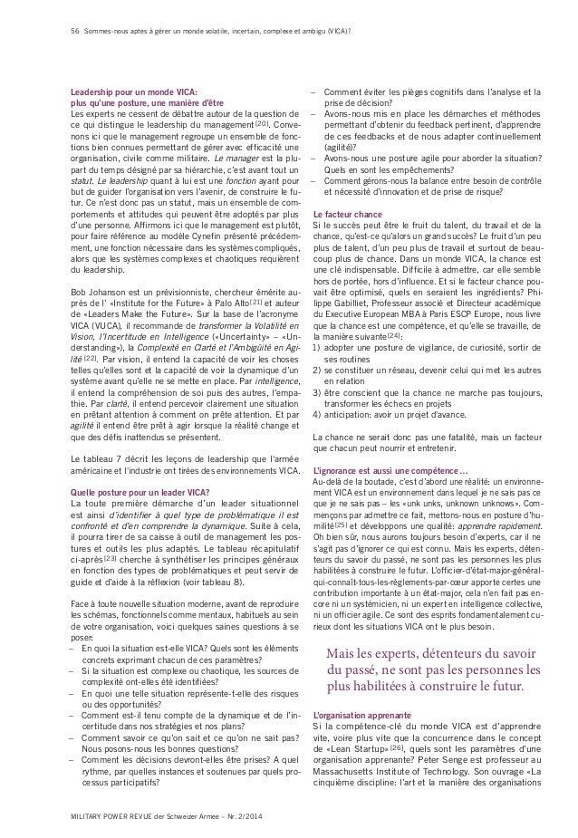 56 MILITARY POWER REVUE der Schweizer Armee – Nr. 2/2014 Sommes-nous aptes à gérer un monde volatile, incertain, complexe ...