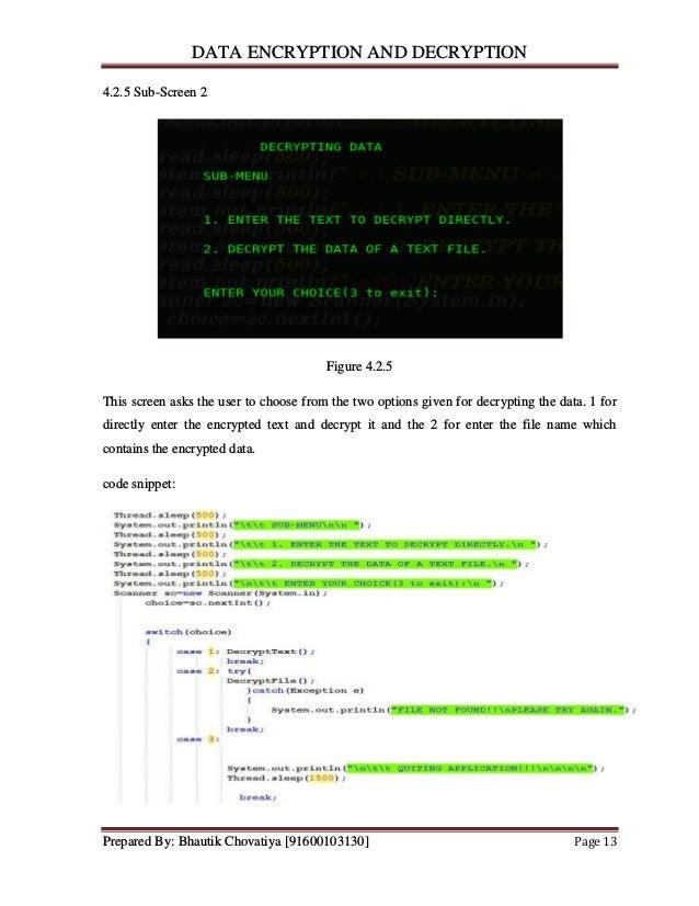 Mini Project on Data Encryption & Decryption in JAVA