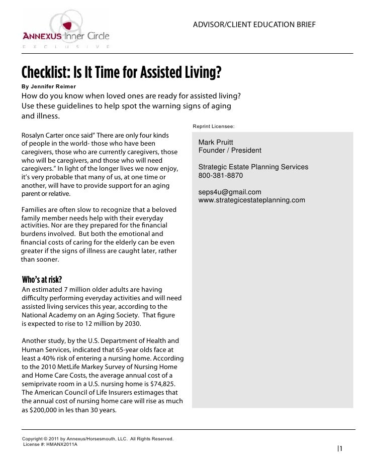 ADVISOR/CLIENT EDUCATION BRIEFChecklist: Is It Time for Assisted Living?By  Jennifer  ReimerHow do you know when loved one...