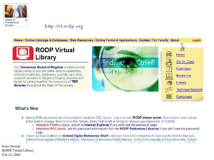 http://vl.rodp.org Peter Nerzak RODP Virtual Library Feb 22, 2008