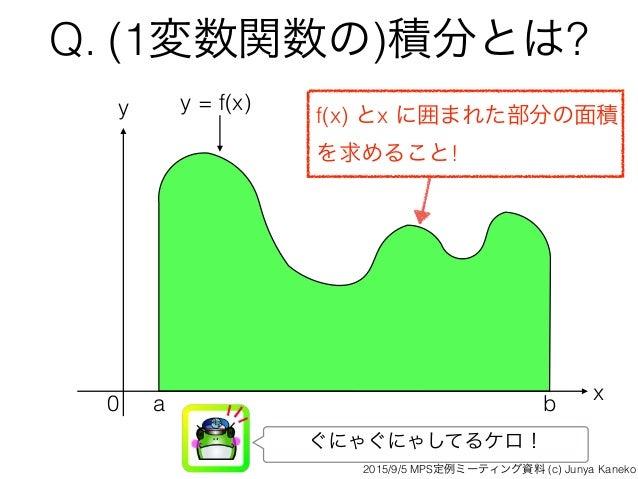 Q. (1変数関数の)積分とは? x y 0 a b y = f(x) f(x) とx に囲まれた部分の面積 を求めること! ぐにゃぐにゃしてるケロ! 2015/9/5 MPS定例ミーティング資料 (c) Junya Kaneko
