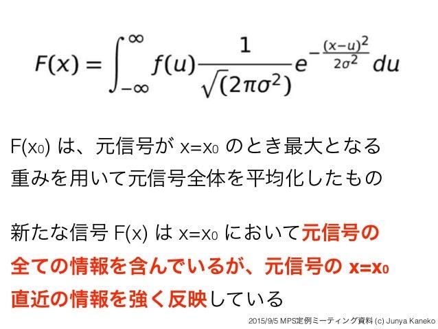 F(x0) は、元信号が x=x0 のとき最大となる 重みを用いて元信号全体を平均化したもの 新たな信号 F(x) は x=x0 において元信号の 全ての情報を含んでいるが、元信号の x=x0 直近の情報を強く反映している 2015/9/5...