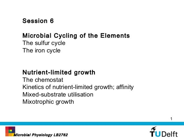 Session 6 Microbial Cycling of the Elements The sulfur cycle The iron cycle Nutrient-limited growth The chemostat Kinetics...