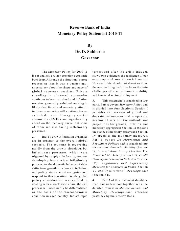 Reserve Bank of India                   Monetary Policy Statement 2010-11                                       By        ...
