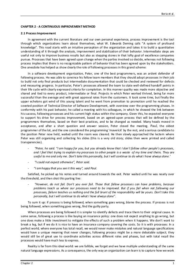 Boria et al. Chapter 2 1 CHAPTER 2 - A CONTINUOUS IMPROVEMENT METHOD 2.1 Process Improvement In agreement with the current...