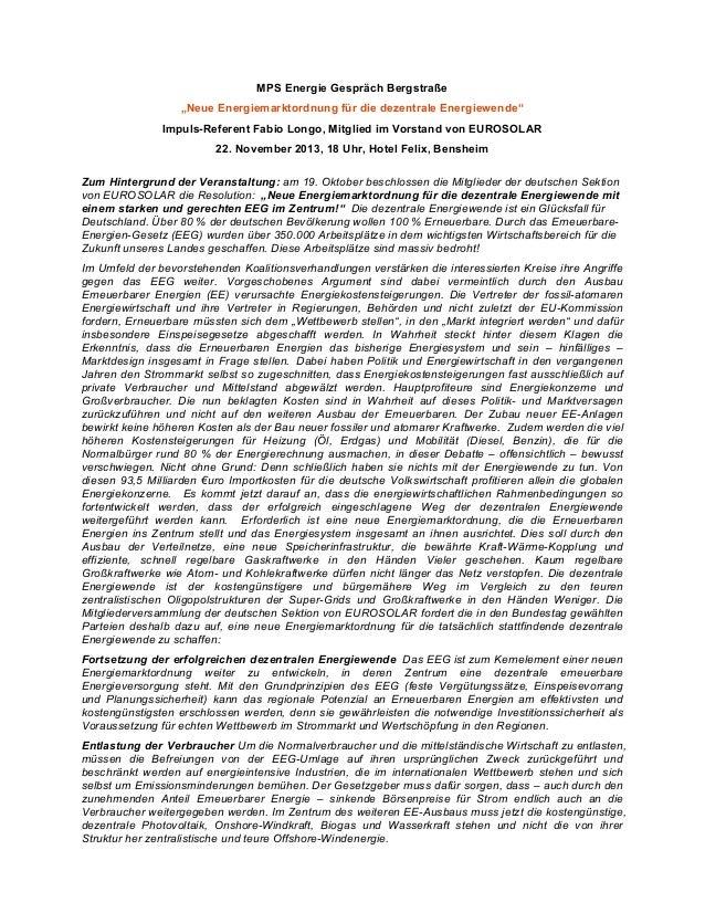 """MPS Energie Gespräch Bergstraße """"Neue Energiemarktordnung für die dezentrale Energiewende"""" Impuls-Referent Fabio Longo, Mi..."""