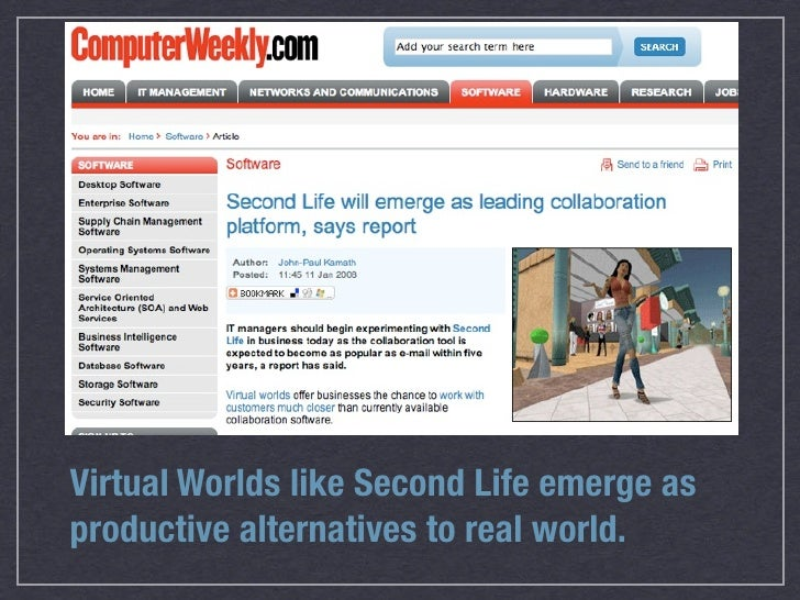 Virtual Worlds like Second Life emerge as productive alternatives to real world.