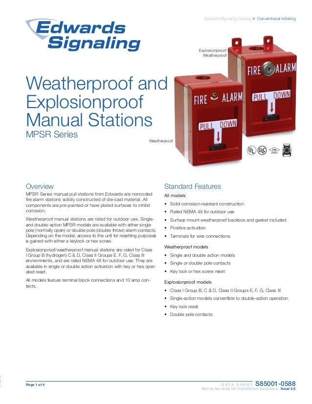 EDWARDS SIGNALING MPSR2-SHTW-GE Weatherproof pull station Double action hex