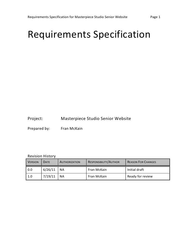 Requirements Specification for Masterpiece Studio Senior Website               Page 1Requirements SpecificationProject:   ...
