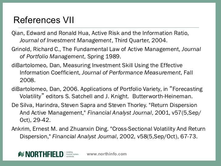 Active portfolio management grinold