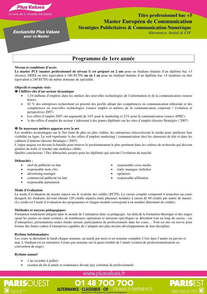 Titre professionnel bac +5                                                                Master Européen de Communication...