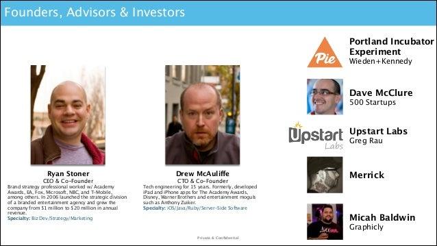 Founders, Advisors & Investors Portland Incubator Experiment  Wieden+Kennedy  Dave McClure 500 Startups  Upstart Labs Gre...