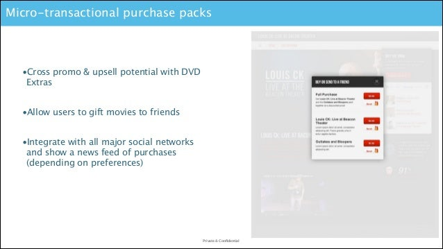 Micro-transactional purchase packs  •Cross promo & upsell potential with DVD Extras !  •Allow users to gift movies to frie...