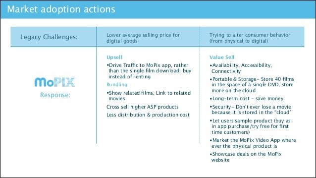 Market adoption actions  TM  Trying to alter consumer behavior (from physical to digital)  Upsell  Legacy Challenges:  Lo...