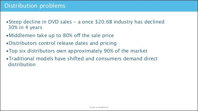 Distribution problems •Steep decline in DVD sales - a once $20.6B industry has declined 30% in 4 years •Middlemen take up ...