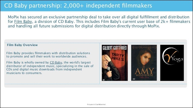 CD Baby partnership: 2,000+ independent filmmakers MoPix has secured an exclusive partnership deal to take over all digital...