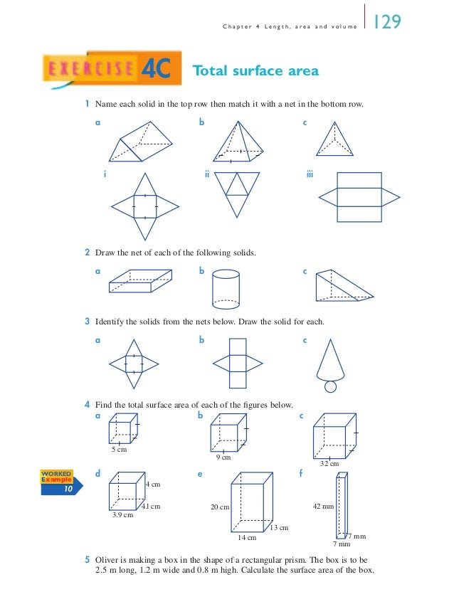 Surface Area Using Nets Worksheet Worksheets For School