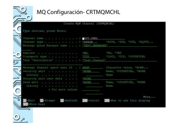 MQ Configuración- CRTMQMCHL