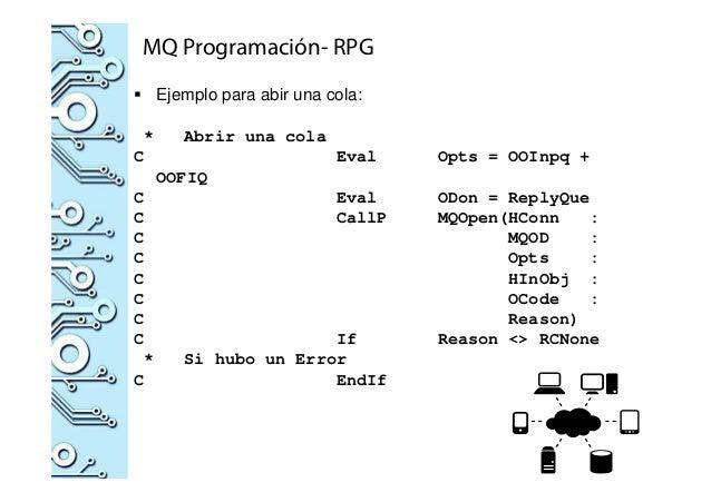 MQ Programación- RPG Ejemplo para abir una cola: * Abrir una cola C Eval Opts = OOInpq + OOFIQ C Eval ODon = ReplyQue C Ca...