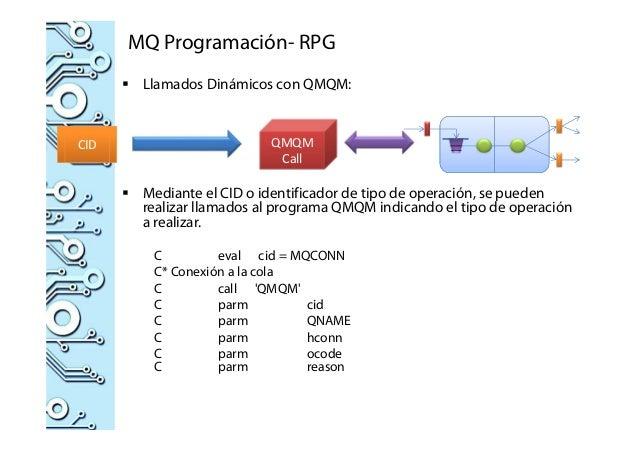 MQ Programación- RPG Llamados Dinámicos con QMQM: Mediante el CID o identificador de tipo de operación, se pueden realizar...