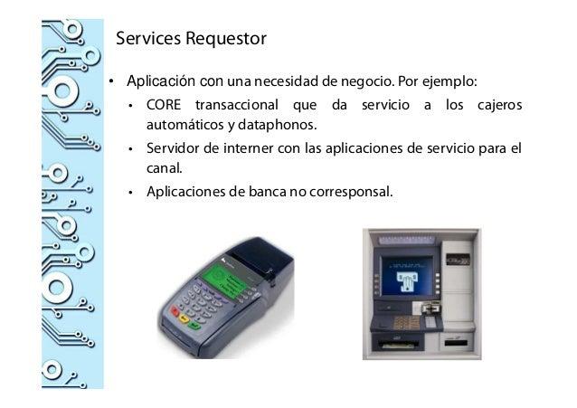 Services Requestor • Aplicación con una necesidad de negocio. Por ejemplo: • CORE transaccional que da servicio a los caje...