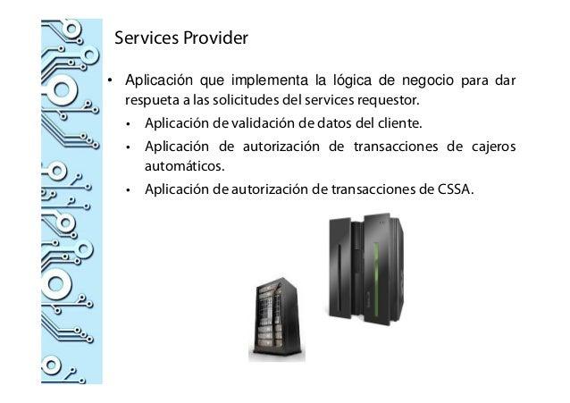 Services Provider • Aplicación que implementa la lógica de negocio para dar respueta a las solicitudes del services reques...