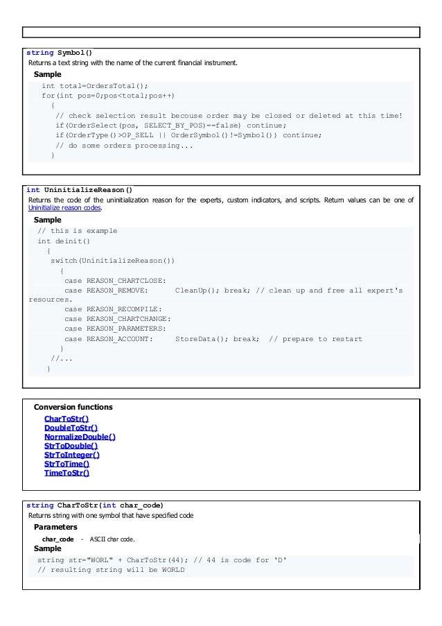 Mql4 manual